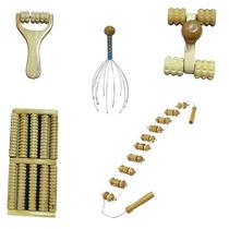 Massageador Manual Madeira Kit Com 5 Peças Corpo Perfeito