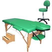Kit Estética 3pçs: Maca Mesa De Massagem, Escadinha E Mocho