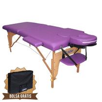 Mesa De Massagem Divã Cama Maca Portátil Cor Lilás Salão