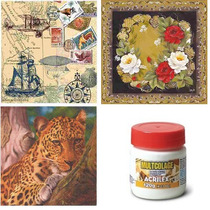 Kit C/ 15 Guardanapos Decoupage Variados 33cm +cola 120gr