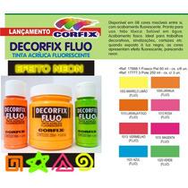 Kit 8 Cores Tinta Acrílica Fluorescente Neon Corfix 60ml *fr