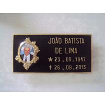 Placa De Bronze C Foto 6x8 Cm Jazigos Túmulos Lápides Letras