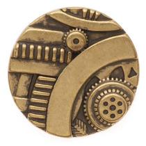 Botão Engrenagens Steampunk Bronze Envelh. 22,5mm (1)