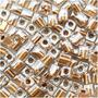 Contas Miyuki 4mm Cubo Vidro Ouro Metálica Forrado Cristal