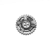 Botão Steampunk, Folheado A Prata, 4 Furos, 22,5 Mm - 1