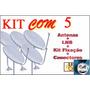 Kit Com 5 Antena Banda Ku 60cm A + Completa