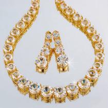 Colar E Brincos Diamante Zircônia Folheado Ouro 18k