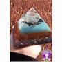 Orgonite Em Pirâmide Azul Claro Com Turmalina Tam. G-