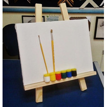 Cavalete De Mesa+ Kit De Pintura Infantil-tela+piceis+tintas