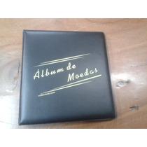 Album Couro Ecologico P/ 60 Moedas Sist.argolas Acolchoado
