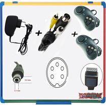 Kit Mega Drive 1- Fonte +cabo Av+2 Controles+(((garantia))))