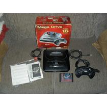Mega Drive 3 Na Caixa Com Cartucho De 10 Jogos.