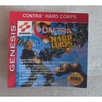 Label Contra Hard Corps Mega Drive Cartucho Fita Jogo Sega