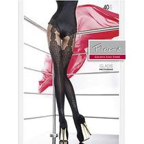 Meia Calça Fashion Preta Sexy Fiore Gladis Fio 40 Trabalhada