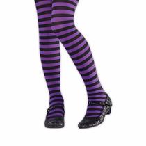 Meia-calça Listrada Preto E Roxo Infantil Leg Avenue 4-6