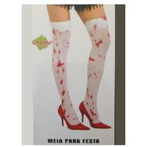 Meia Calça Fina Branca Com Sangue - Fantasia Festa Carnaval