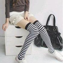 Meias Listradas 5/8_ideal P/ J.rock_lolita_nana_emo_cosplay