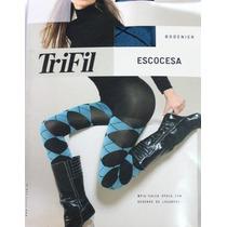 Meia Calça Trifil_opaca_escocesa_fio 80_moda Jovem E Casual