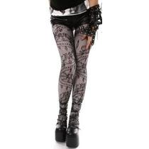 Meia-calça Rendada Com Estampa Floral Preta Sexy Rock