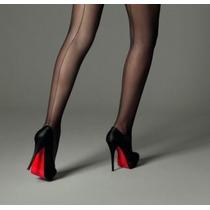Meia Calça Preta Risca Atrás, Feminina, Elegante, Tam M