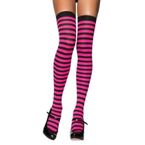Meia 7/8 Listrada Rosa Pink E Preto Leg Avenue Fantasia