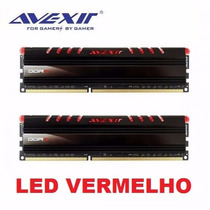 Memoria Avexir Led Vermelho 8gb (kit 2x 4gb) Ddr3 1600mhz
