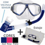 Mascara Mergulho Silicone Kit Seasub Snorkel Com Valvula Top