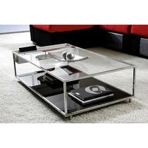 Mesa Centro Em Aço Inox E Vidro-espelho-(luxo) Design Clean