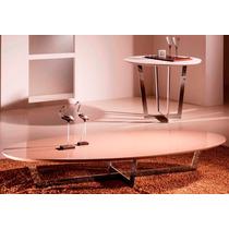 Mesa De Centro Oval Clip Laca Bege Vidro Bege Essenza Design