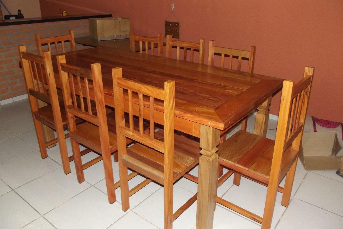 mesa de jantar rustica c 8 cadeiras em madeira de demolico 18641  #C0770B 1200x801