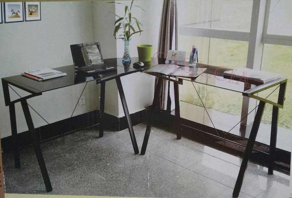 Mesa em l escrit rio esta o trabalho vidro temperado for Mesa escritorio l