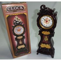 Relógio De Mesa Com Pendulo Detalhado Novo No Leilao *