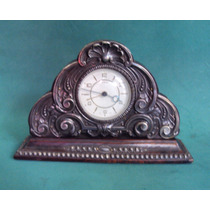 Relógio Suíço Antigo De Madeira Jacarandá Com Prata De Lei