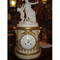 Relógio Francês Em Mármore, Biscuit E Bronze Maravilhoso