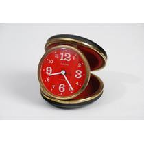 Relógio De Mesa Antigo Europa Germany Mostrador Vermelho