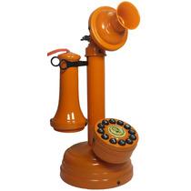 Telefone Antigo Laranja Castiçal Artesanal Vintage Retrô