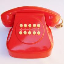 Telefone Vermelho Telnac Baquelite Decorativo Objeto Antigo