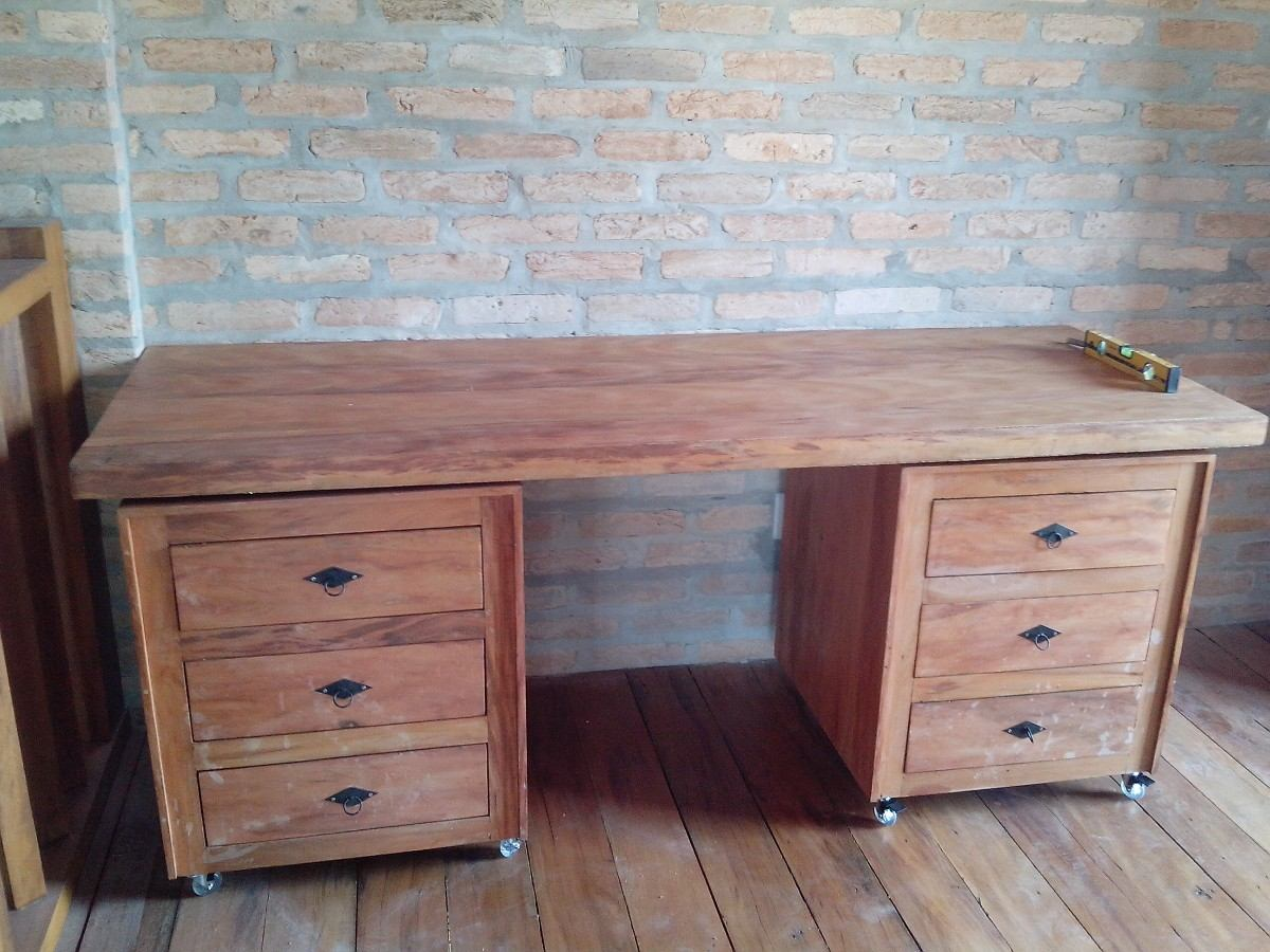 Mesa Escrivaninha E Gaveteiros Com Rodas Madeira Maciça! R$ 1.990  #7F5D4D 1200x900