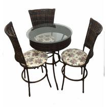 Mesa De Chá / Bar / Restaurante / Bistro + 03 Cadeiras Junco