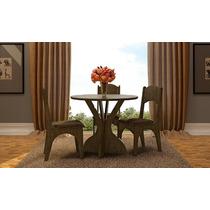 Conjunto De Jantar Mdf Mesa Redonda + 4 Cadeiras Estofadas