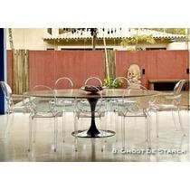 Mesa Saarinen Oval Madeira 1,98 X 1,22 Com 8 Cadeiras Ghost.
