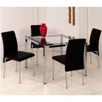 Conjunto Para Sala De Jantar Com Mesa E 4 Cadeiras Preto