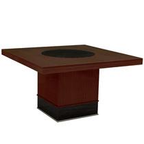 Mesa De Jantar Quadrada P/ 8 Cadeiras Castanho/ebano