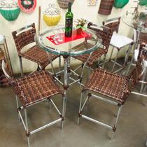 Conjunto De Mesa Bistrô E 4 Cadeiras Rattan Junco Varanda