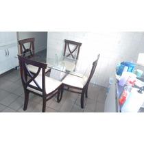 Mesa Retangular Jantar Com Tampo De Vidro (abaixou O Preço)