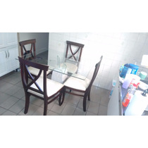 Mesa Retangular Jantar Marmore E Vidro 4 Cadeiras