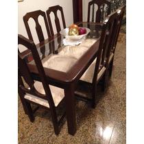 Mesa Jantar Tampo Vidro 1,80x0,80m Com 6 Cadeiras Estofadas