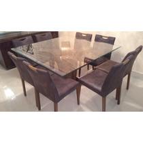 Mesa De Jantar Tampo De Vidro Base De Imbuia + 8 Cadeiras
