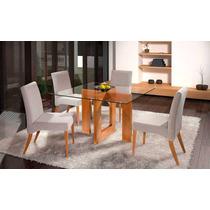 Conjunto Sala De Jantar Mesa E 4 Cadeiras Veneza - Rafana