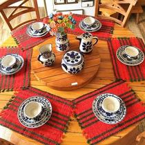 Mesa De Jantar Com Prato Giratorio Em Madeira De Demolição